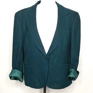 Vintage emerald rolled cuff one button blazer
